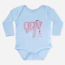 QOV initials, Pink Ribbon, Long Sleeve Infant Body