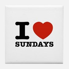 I Love Sundays Tile Coaster