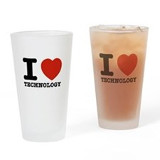 I Love Technology Drinking Glass