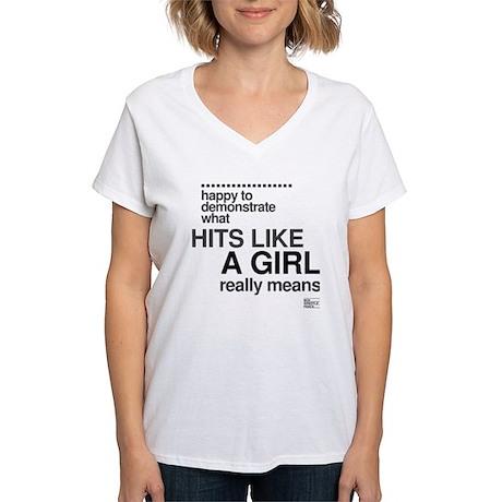 Hit Like a Girl Women's V-Neck T-Shirt