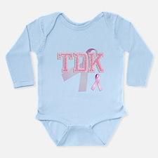 TDK initials, Pink Ribbon, Long Sleeve Infant Body