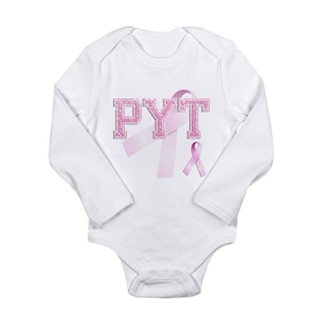 PYT initials, Pink Ribbon, Long Sleeve Infant Body