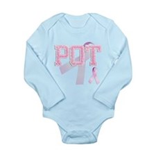 POT initials, Pink Ribbon, Long Sleeve Infant Body