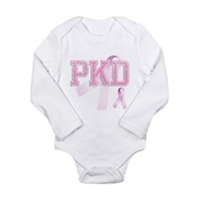 PKD initials, Pink Ribbon, Long Sleeve Infant Body