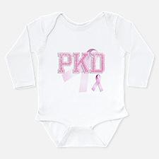 PKD initials, Pink Ribbon, Long Sleeve Infant Body