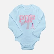 PDF initials, Pink Ribbon, Long Sleeve Infant Body