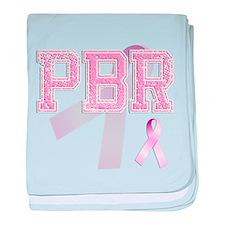 PBR initials, Pink Ribbon, baby blanket