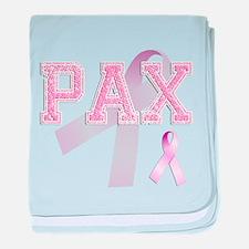 PAX initials, Pink Ribbon, baby blanket