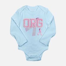 ORG initials, Pink Ribbon, Long Sleeve Infant Body