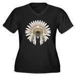 Native War Bonnet 05 Women's Plus Size V-Neck Dark