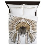 Native War Bonnet 05 Queen Duvet