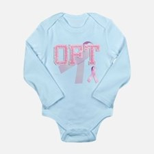 OFT initials, Pink Ribbon, Long Sleeve Infant Body