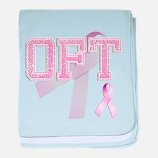 OFT initials, Pink Ribbon, baby blanket