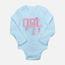 OBL initials, Pink Ribbon, Long Sleeve Infant Body