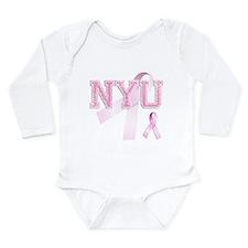 NYU initials, Pink Ribbon, Long Sleeve Infant Body