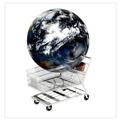 Global consumerism, conceptual artwork Poster