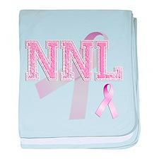 NNL initials, Pink Ribbon, baby blanket