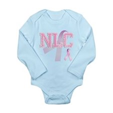 NLC initials, Pink Ribbon, Long Sleeve Infant Body