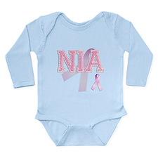 NIA initials, Pink Ribbon, Long Sleeve Infant Body