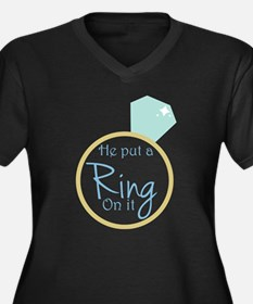 He put a ring on it Women's Plus Size V-Neck Dark