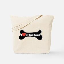 I Love My Jack Russell - Dog Bone Tote Bag