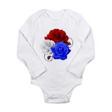 Patriotic Flowers Long Sleeve Infant Bodysuit