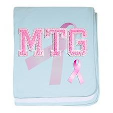 MTG initials, Pink Ribbon, baby blanket