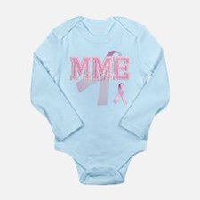 MME initials, Pink Ribbon, Long Sleeve Infant Body
