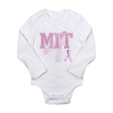 MIT initials, Pink Ribbon, Long Sleeve Infant Body