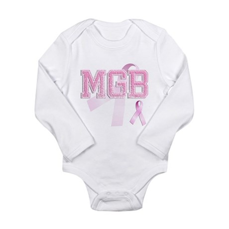 MGB initials, Pink Ribbon, Long Sleeve Infant Body