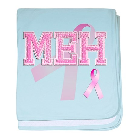 MEH initials, Pink Ribbon, baby blanket