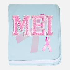 MEI initials, Pink Ribbon, baby blanket