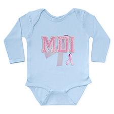 MDI initials, Pink Ribbon, Long Sleeve Infant Body