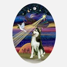 Xmas Star Siberian Husky (#3) Oval Ornament