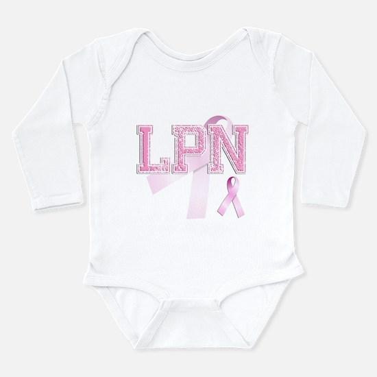 LPN initials, Pink Ribbon, Long Sleeve Infant Body