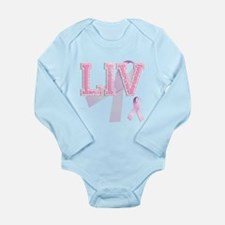LIV initials, Pink Ribbon, Long Sleeve Infant Body