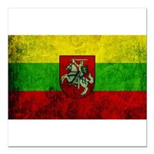 "Lithuania Flag Square Car Magnet 3"" x 3"""