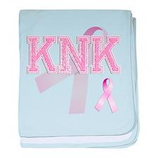 KNK initials, Pink Ribbon, baby blanket