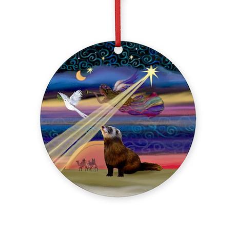Xmas Star Ferret Ornament (Round)