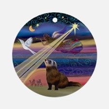 Xmas Star Ferret Ornament (Round)
