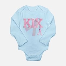 KIX initials, Pink Ribbon, Long Sleeve Infant Body