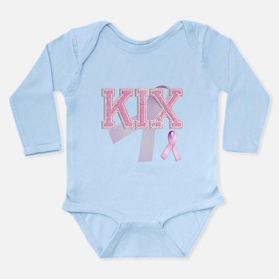 KIX initials, Pink Ribbon, Long Sleeve Infant Body