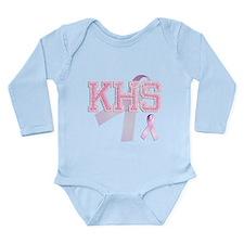KHS initials, Pink Ribbon, Long Sleeve Infant Body
