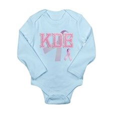 KDE initials, Pink Ribbon, Long Sleeve Infant Body
