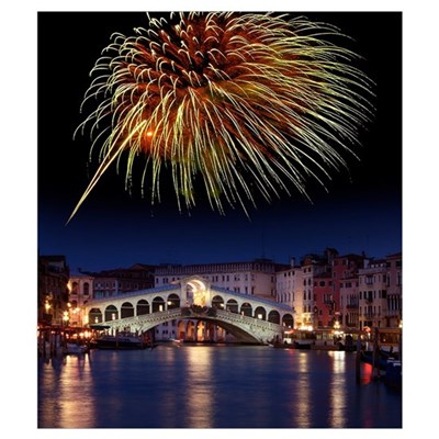 Fireworks display, Venice Framed Print