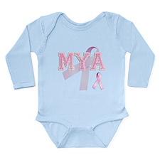 MYA initials, Pink Ribbon, Long Sleeve Infant Body