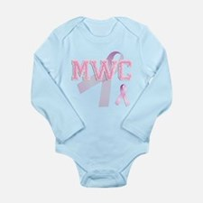MWC initials, Pink Ribbon, Long Sleeve Infant Body