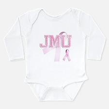 JMU initials, Pink Ribbon, Long Sleeve Infant Body
