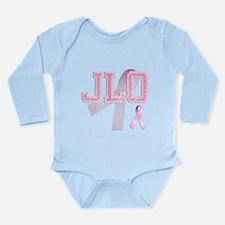 JLO initials, Pink Ribbon, Long Sleeve Infant Body