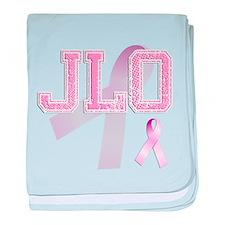 JLO initials, Pink Ribbon, baby blanket
